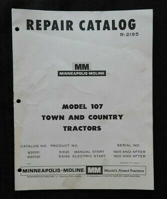 1963-1968 Minneapolis Moline Model 107 Town Country Lawn Tractor Parts Manual