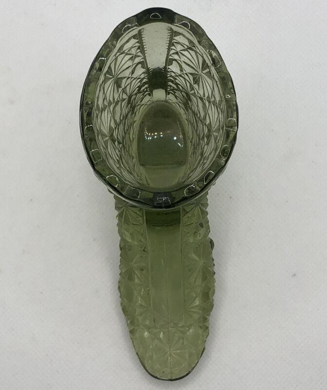 Fenton Glass Boot Button And Daisy Colonial Green  Pre-logo EUC