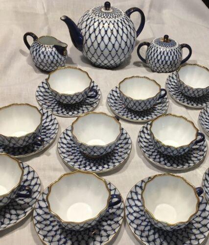 Imperial Russia Cobalt Blue Gold Net Lomonosov Tea Pot and Sugar Bowl +10 Cups*