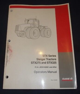 Case Stx275 Stx325 Steiger Tractor Operator Operation Maintenance Manual