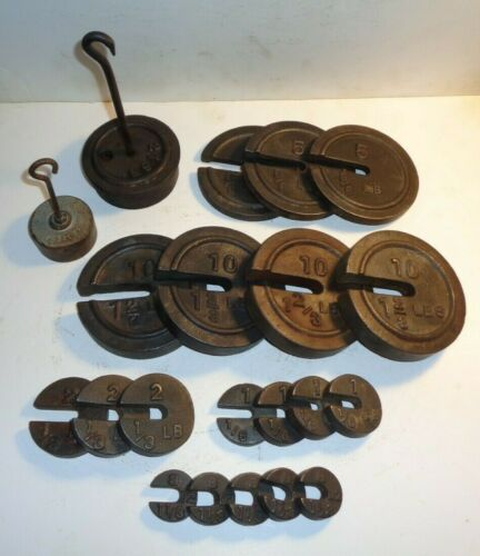 ANTIQUE CAST IRON PLATFORM - COUNTER SCALE WEIGHTS w/HANGERS. ASSORTED WTS.