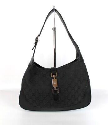 Gucci Black GG Monogram Canvas & Leather Trim Jackie O Hobo Shoulder Bag