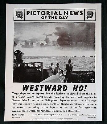 Orig 1945 News Of The Day Poster   Westward Ho To Philippines   Ww Ii