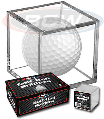 *2 Golf Ball Display Cases Stackable Square Cube Holder Stands