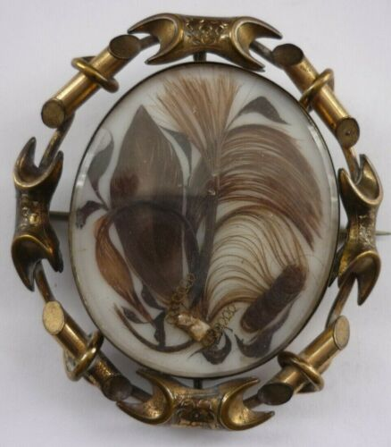 Antique Victorian Extra Large Hairwork Daguerreo Type Swivel Mourning Brooch