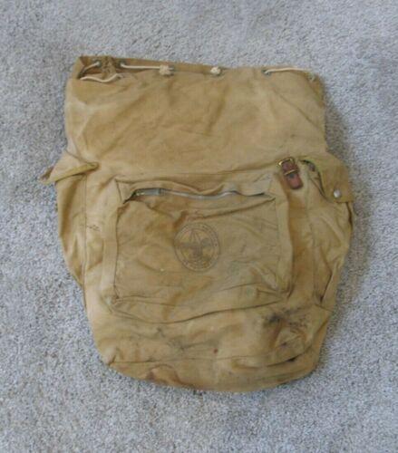 VINTAGE BSA BOY SCOUTS OF AMERICA BSA  KHAKI CANVAS DUFFLE BAG