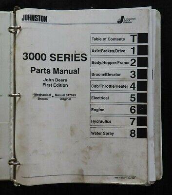 1997 Johnston 3000 Jd Series Street Sweeper Broom Parts Catalog Manual Deere