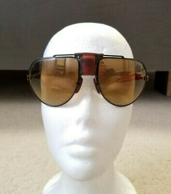 0c74d52cd54c Vintage Cébé Dakar 1000 Mirrored Aviator Leather Sunglasses Made in France