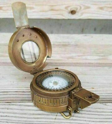 Antique Solid Brass British Military British Prismatic Pocket Compass