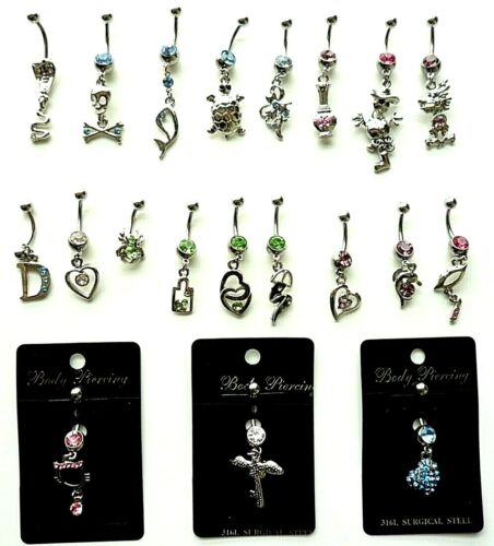 17 + 3 Artistic Curved Belly Button Dangle Rings - 14g & 316L Surgical Steel
