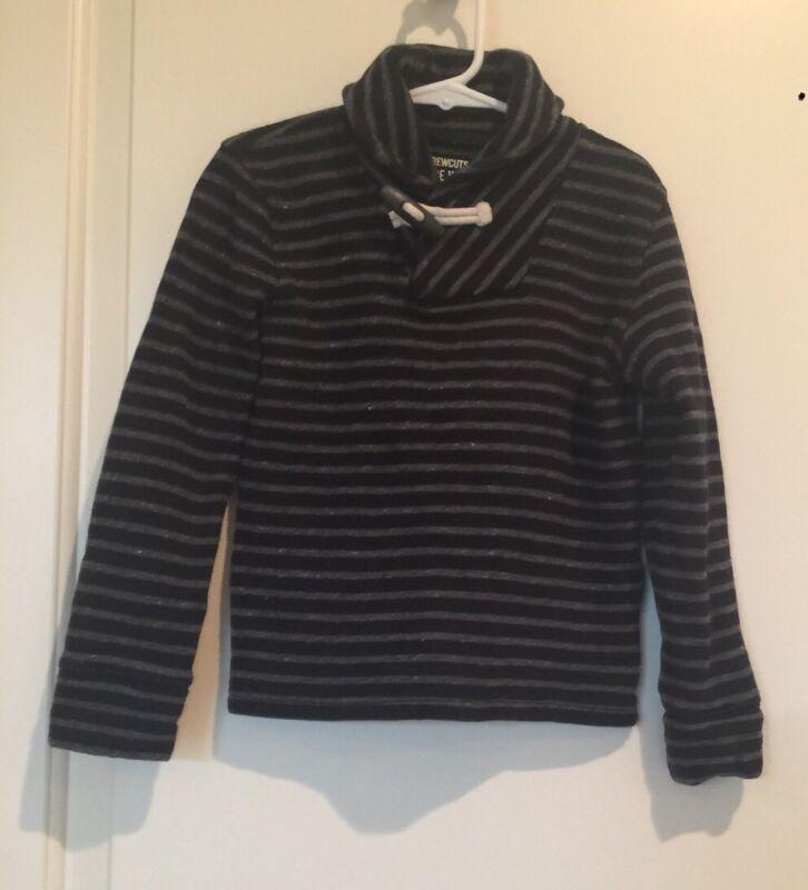 JCrew Crewcuts Shawl Collar Sweater Navy Blue Gray Striped Long Sleeve, SZ4-5T