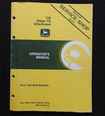 John Deere 7000 Planter 720 Ridge Till Attachment Operators Manual Very Good