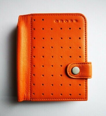 Cross Autocross Leather Collection Mini Agenda With Pen Soft Leather Orange