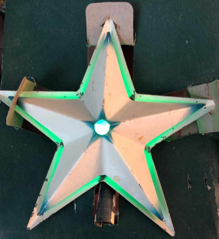 VINTAGE NOMA ILLUMINATED CHRISTMAS TREE STAR W/BOX METAL WHITE & BLUE Works!