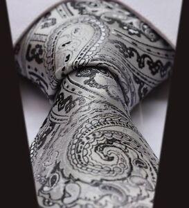 Mens Wedding Tie -Satin Silver Grey White & Black- Gift Sale Floral Paisley Silk