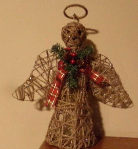 Country Burlap Twine  Christmas Angel 16""