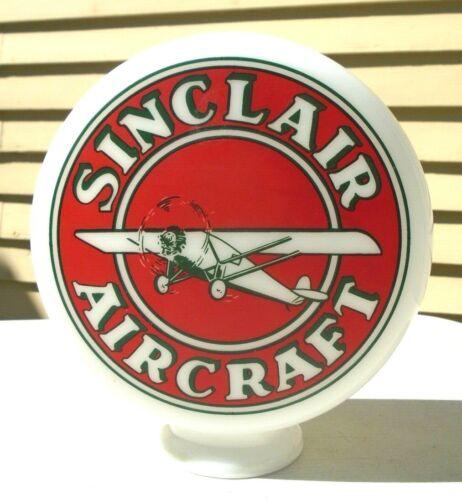 vintage milk glass pump globe advertising Sinclair Aircraft Gasoline