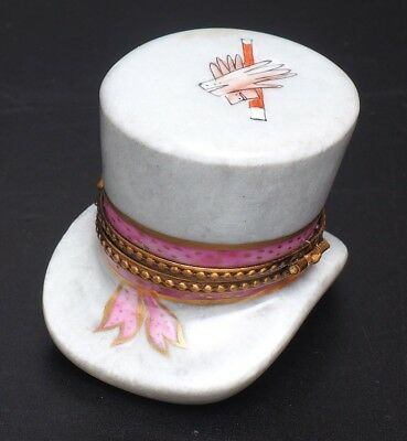 LIMOGES PEINT MAIN RARE MAGIC TOP HAT WITH RABBIT INSIDE TRINKET BOX  - Magic Hat With Rabbit