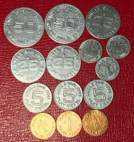 14 VINTAGE FALSA PECUNIA/UNCLE SAM PLAY MONEY TOKENS PENNY 5,10,25,50 CENTS-JUL3