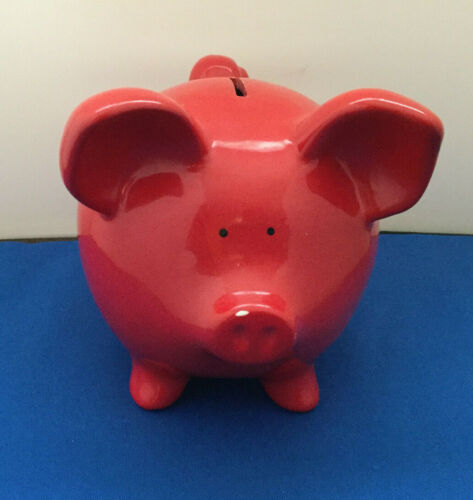 Vintage Ceramic Red Pig Piggy Bank Made in Taiwan