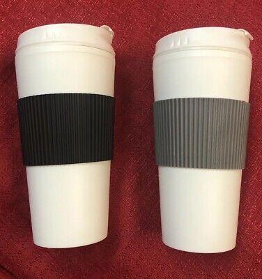 2- Coffee 16oz Thermal Mug Travel Double Wall Reusable Cup Black & Gray (16 Oz Cup)