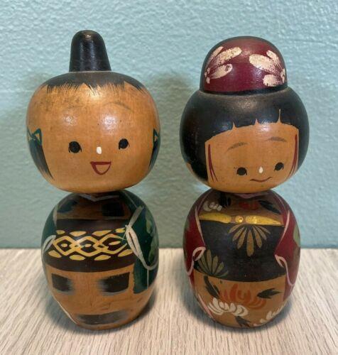2 Vintage JAPAN WOODEN KOKESHI BOBBLE HEAD NODDER DOLLS Japanese Asian - VGUC