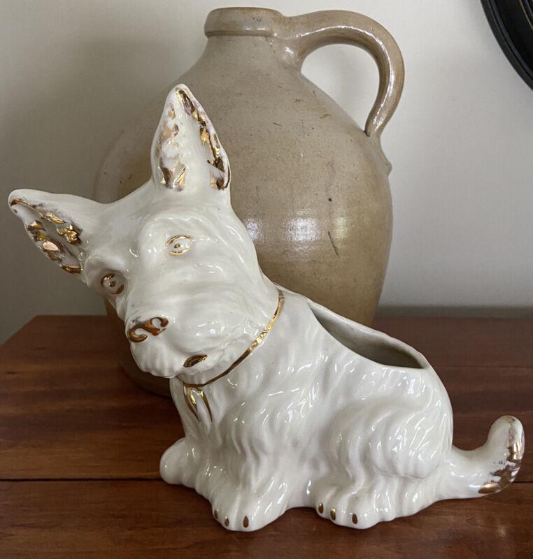 Vintage Scottie Scottish Westie Terrier Dog Ceramic Planter Figurine