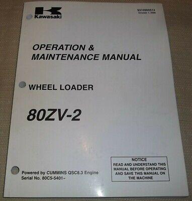 Kawasaki 80zv-2 Wheel Loader Operation Maintenance Book Manual Sn 80c5-5401-up
