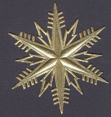 LARGE GOLD SNOWFLAKE PAPER WINTER BACK FOIL DRESDEN GERMANY MEDALLION ORNAMENT ](Snowflake Paper)
