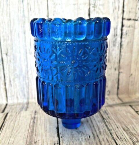 Vtg Votive Peg Candle Cup Ribbed Flower Farmhouse Cottage Chic Blue Hallmark