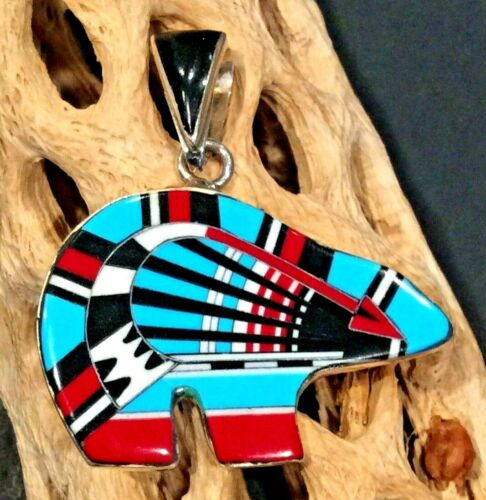 Native American Indian Jewelry Sterling Silver Inlay Navajo Year Bear Signed