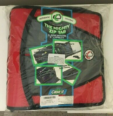 Case-it Mighty Zip Tab 3 3-ring Zipper Binder Red D-146 Red New Sealed