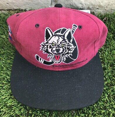 d1398f59220a31 Vintage Chicago Wolves Snapback Hat Cap IHL Hockey Black Burgundy 1994 Covee