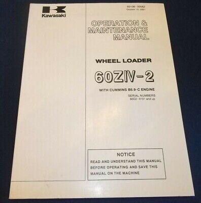 Kawasaki 60ziv-2 Wheel Loader Operation Maintenance Book Manual