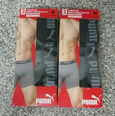 "Mens Puma Boxers Box Of 3 Size Medium Pants 32"" / 34"" Waist Black New In Box"