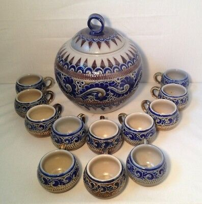Beautiful German Salt Glaze Punch Bowl Set Merkelbach Horh-Grenzhausen