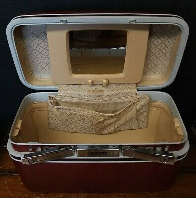 Samsonite Silhouette Travel Train Vanity Case Red Makeup Suitcase- No Tray
