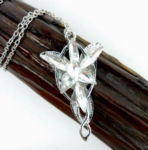Lord of the Rings Elvish Arwen Evenstar Necklace Silver Tone Cosplay Costume