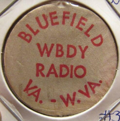 Vintage WBDY Radio Bluefield, WV Wooden Nickel - Token West Virginia #3