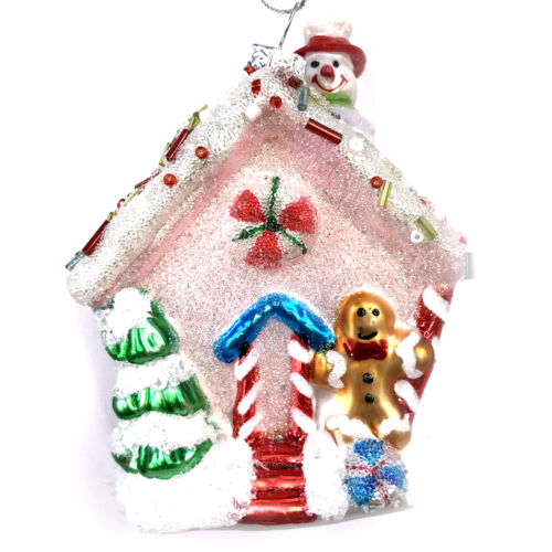 Pink Sugared Gingerbread House Glass Christmas Tree Ornament Green Man R