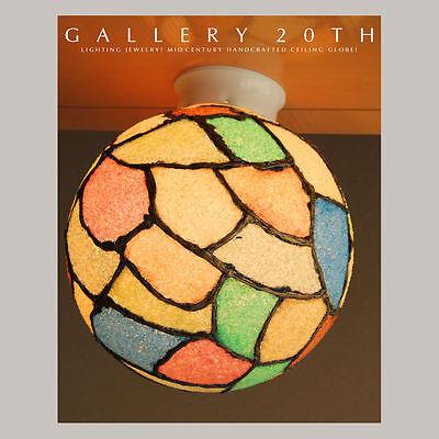 MID CENTURY MODERN MULTICOLOR ATOMIC CEILING LAMP! 60's Vtg Handmade Glass Shade