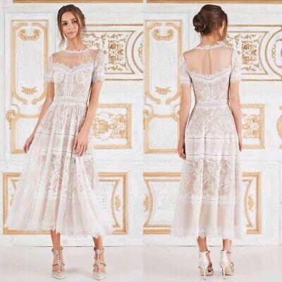 $378 NEW Tadashi Shoji Camilla Lace Tea-Length Dress, Ivory, 14 Lace Tea Dress