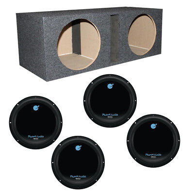 """Planet Audio 12"""" 1800W Car Audio Subwoofers (4 Pack) & Dual 12"""" Vented Sub Box for sale  Lincoln"""