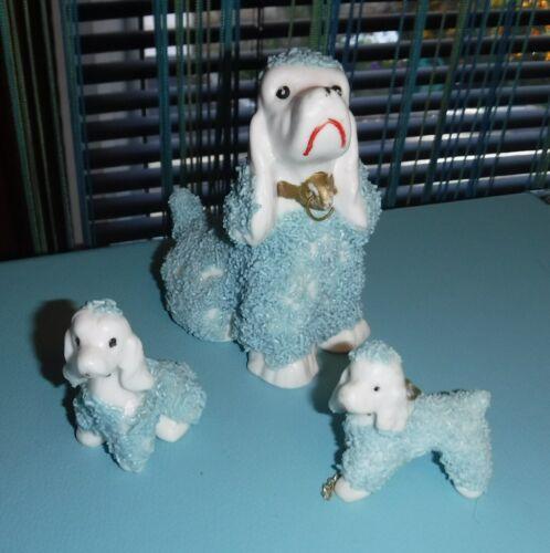 Vtg Retro Blue Porcelain Spaghetti Poodles Dogs Figurines Mama & 2 Babies Japan