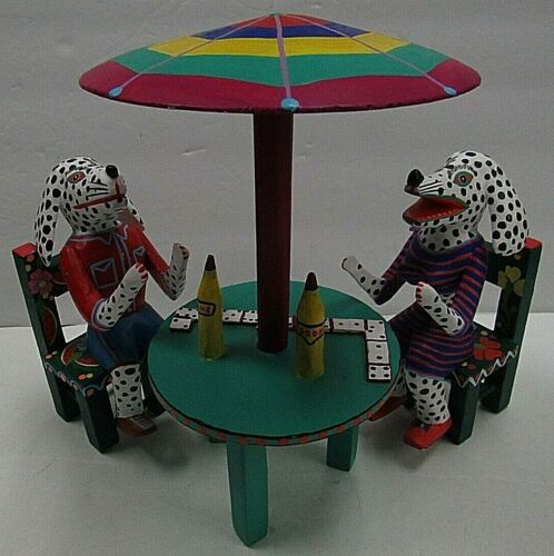Martin Melchor Folk Art Mexican Dominoes Game Patio Table W Players & Chairs