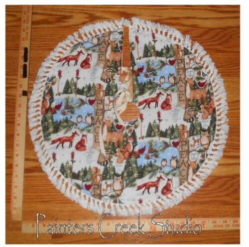"WOODLAND Fox,Rabbit,Owl,Deer Handmade Christmas Mini Tree Skirt,20"" dia,tabletop"