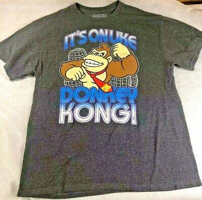 Nintendo NES Mens Its on like Donkey Kong T Shirt Mario Gray Cotton Large Its On Like Donkey Kong T-shirt