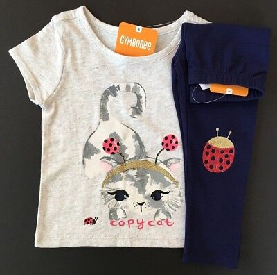 Gymboree Girls Kitty Tee & Leggings Lady Bug Outfit NWT 2T $39.90