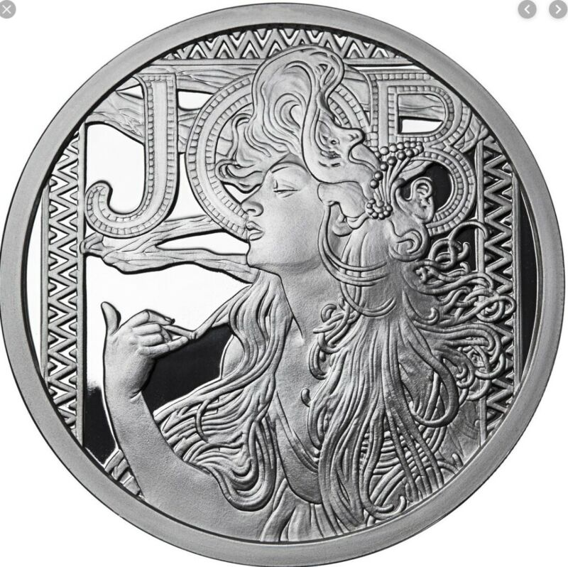 VERY RARE ALPHONSE MUCHA JOB 5OZ SILVER COIN ROUND PROOF W/COA AUTHENTIC