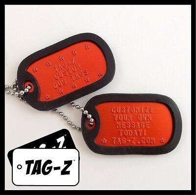 2 Military Dog Tags - Custom Embossed Orange Tags with Silencers & Chains